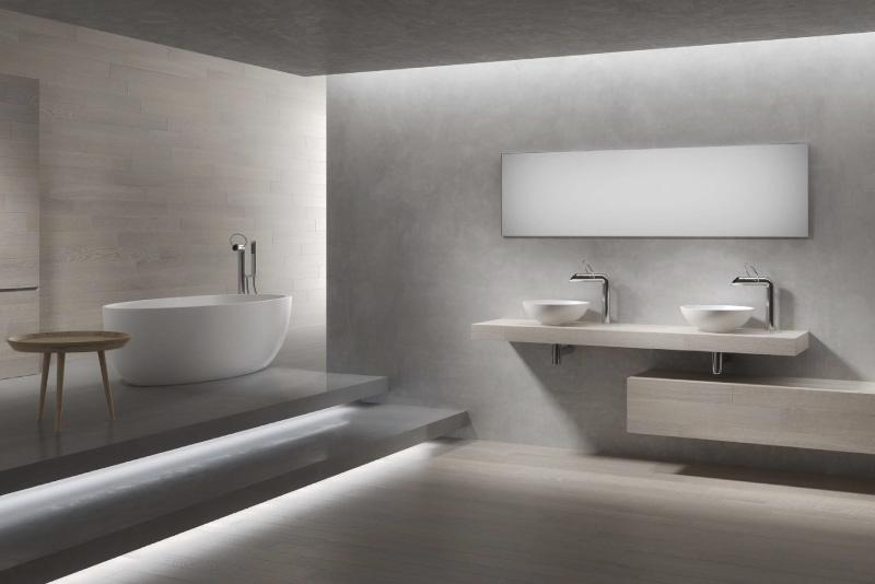 Arredo bagni con rivestimento in legno 5 millimetri for Grandi bagni padronali
